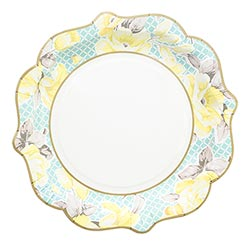 Yellow Floral Paper Plate