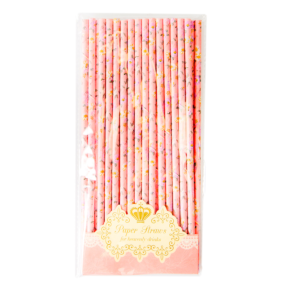 Vintage-style pink floral paper straws