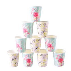 Vintage-inspired floral paper cups in pink and green designs
