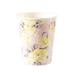 Vintage-inspired floral paper cup in pink design