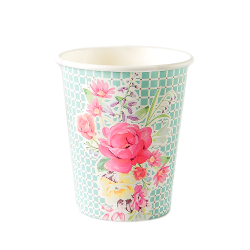Vintage-inspired floral paper cup in green design