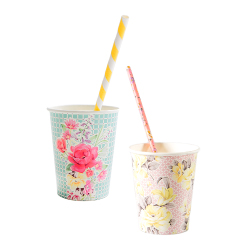 Vintage-inspired floral paper cup in pink and green designs with vintage straws