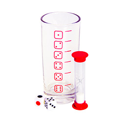 Drinking game glass, dice and egg timer