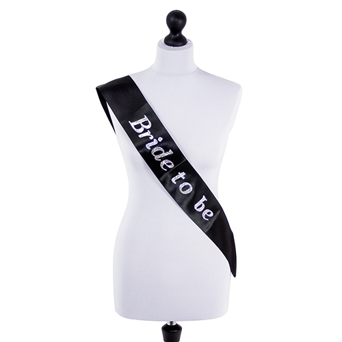 Bride to Be sash in black with silver lettering