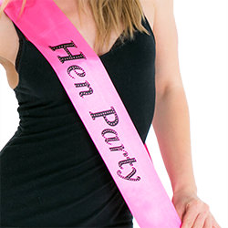 The model seems very happy with her sash