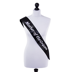 Mother of the Groom sash in black with silver lettering
