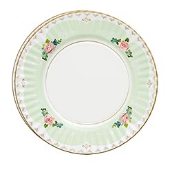 Top-down view of mint green plate design