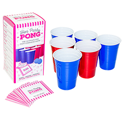 The hen party pong contents laid out, including cups, balls and dare cards