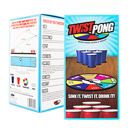 The twist pong drinking game packaging