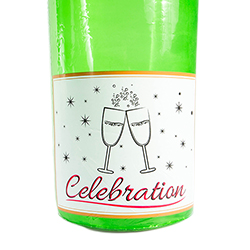 The bottom of the bright green blow up champagne bottle.