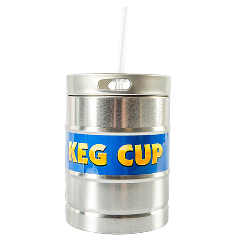 Keg cup with a straw.
