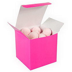 Hot pink treat box.