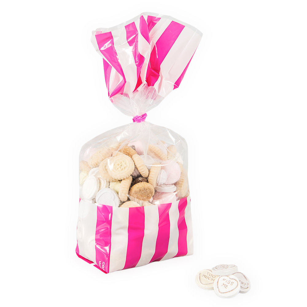 Pink and white treat bags.