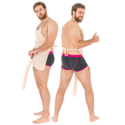 Two shots of the male model wearing the willy apron from the side and from the back