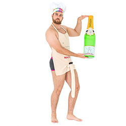 A model wearing the willy apron whilst wearing a gay icon chef hat and holding an inflatable champagne bottle