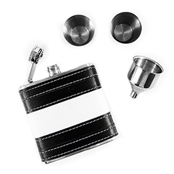 Black and white hip flask set.