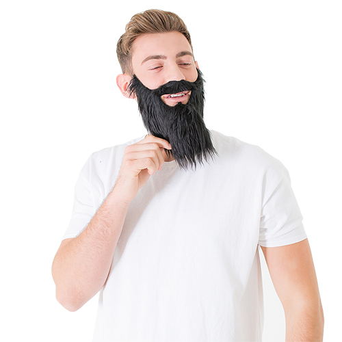 A model wearing the black beard