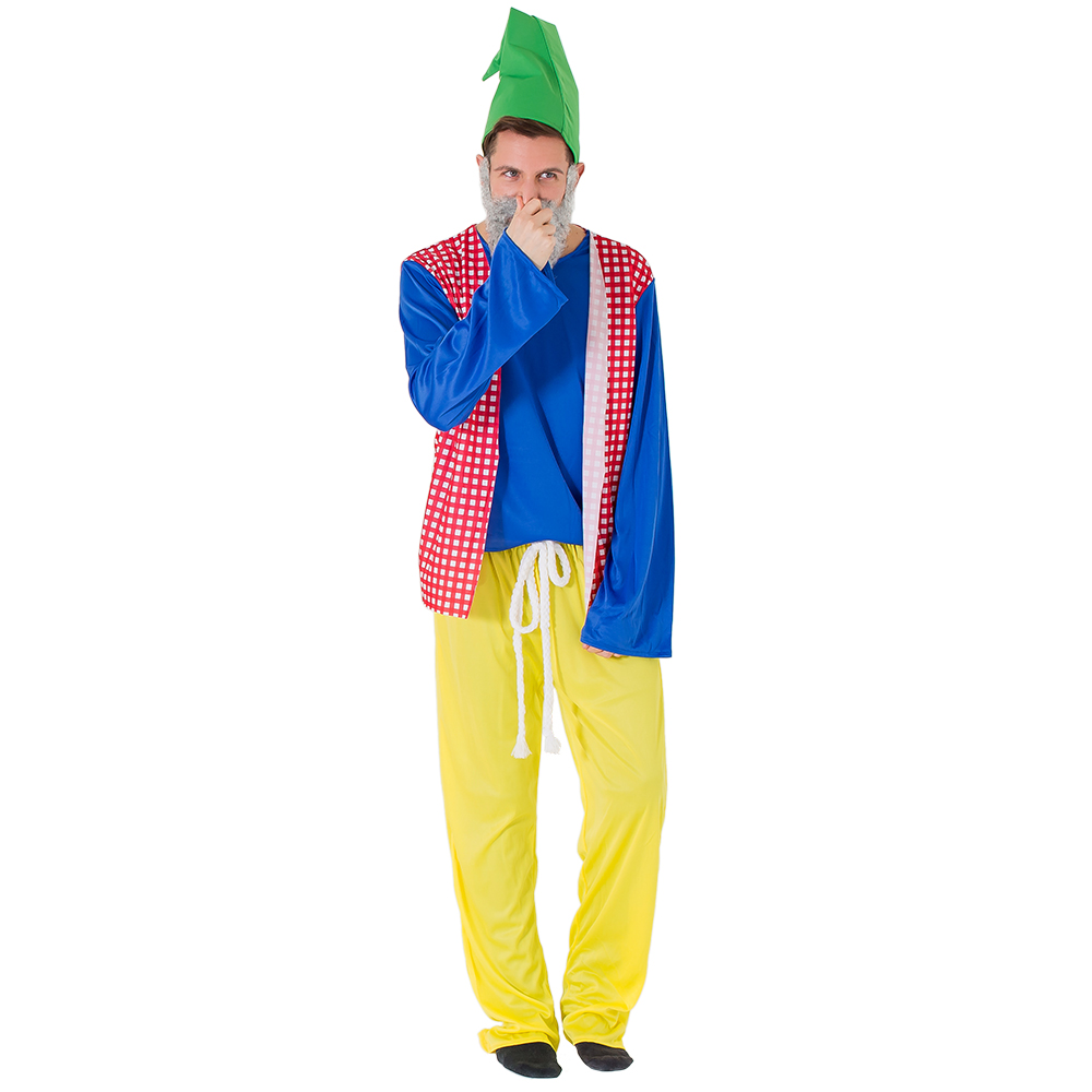 Male model wearing sneezy gnome costume whilst holding his nose