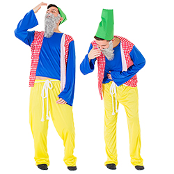 Two male models wearing Sneezy gnome costumes and sneezing