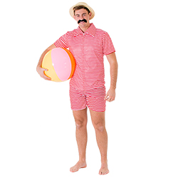 Male model wearing straw boater hat and vintage swimwear, whilst holding a beach ball