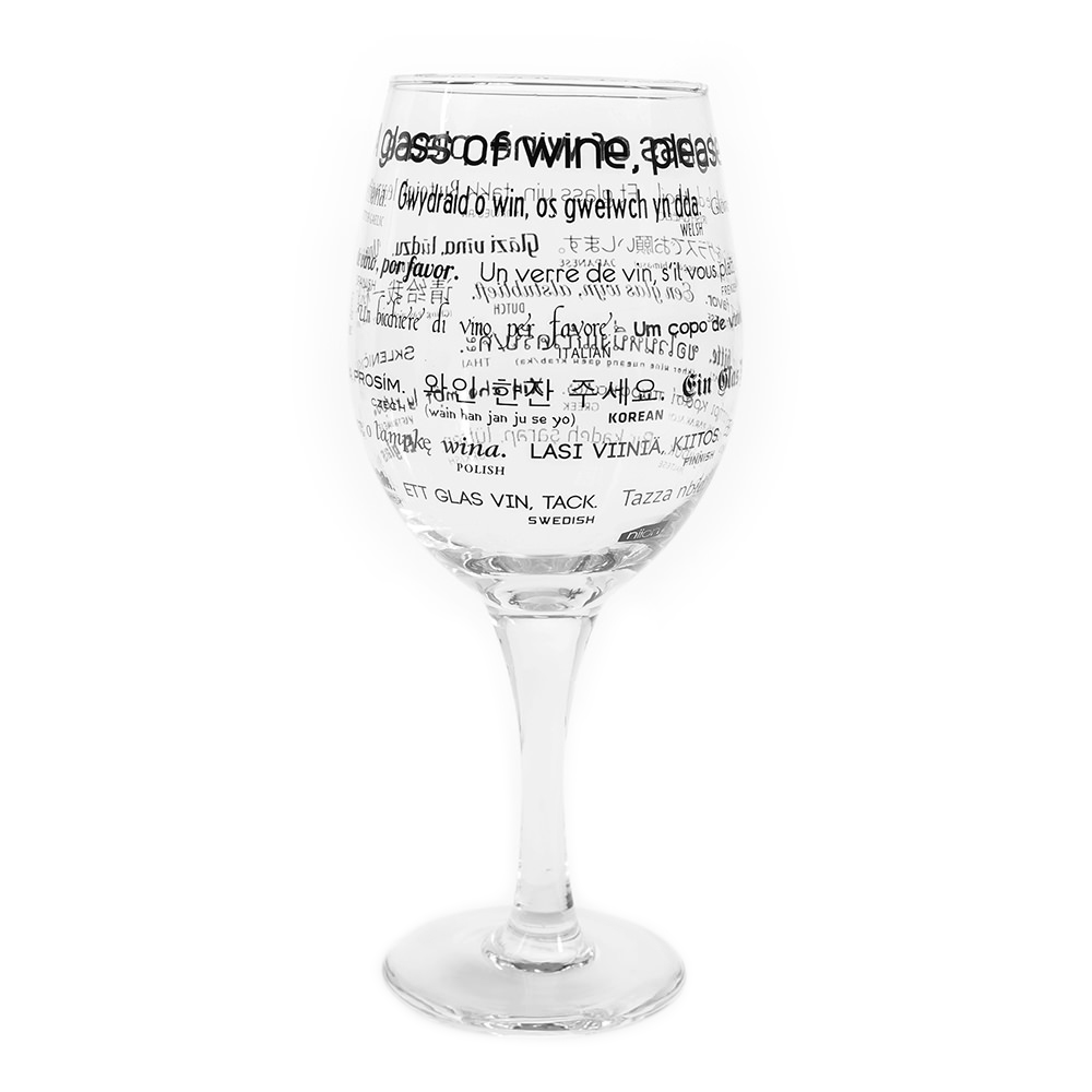 Wine glass with how to order a glass of wine written on it in 25 languages