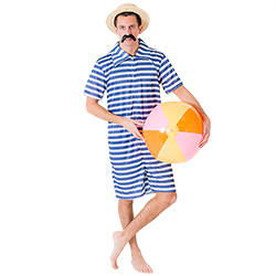 Male model wearing vintage beachwear and a straw boater hat