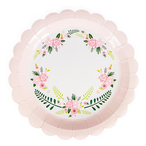 Fancy Pink Floral Paper Plates