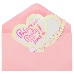 The princess party invite placed in the pink envelope