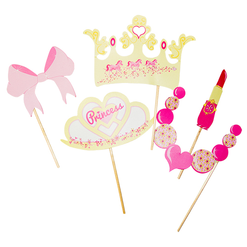 Five of the princess party photo booth props