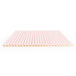 A row of pink Princess Party Paper Straws