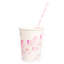 Beautiful Princess Party Paper Cup with matching straw