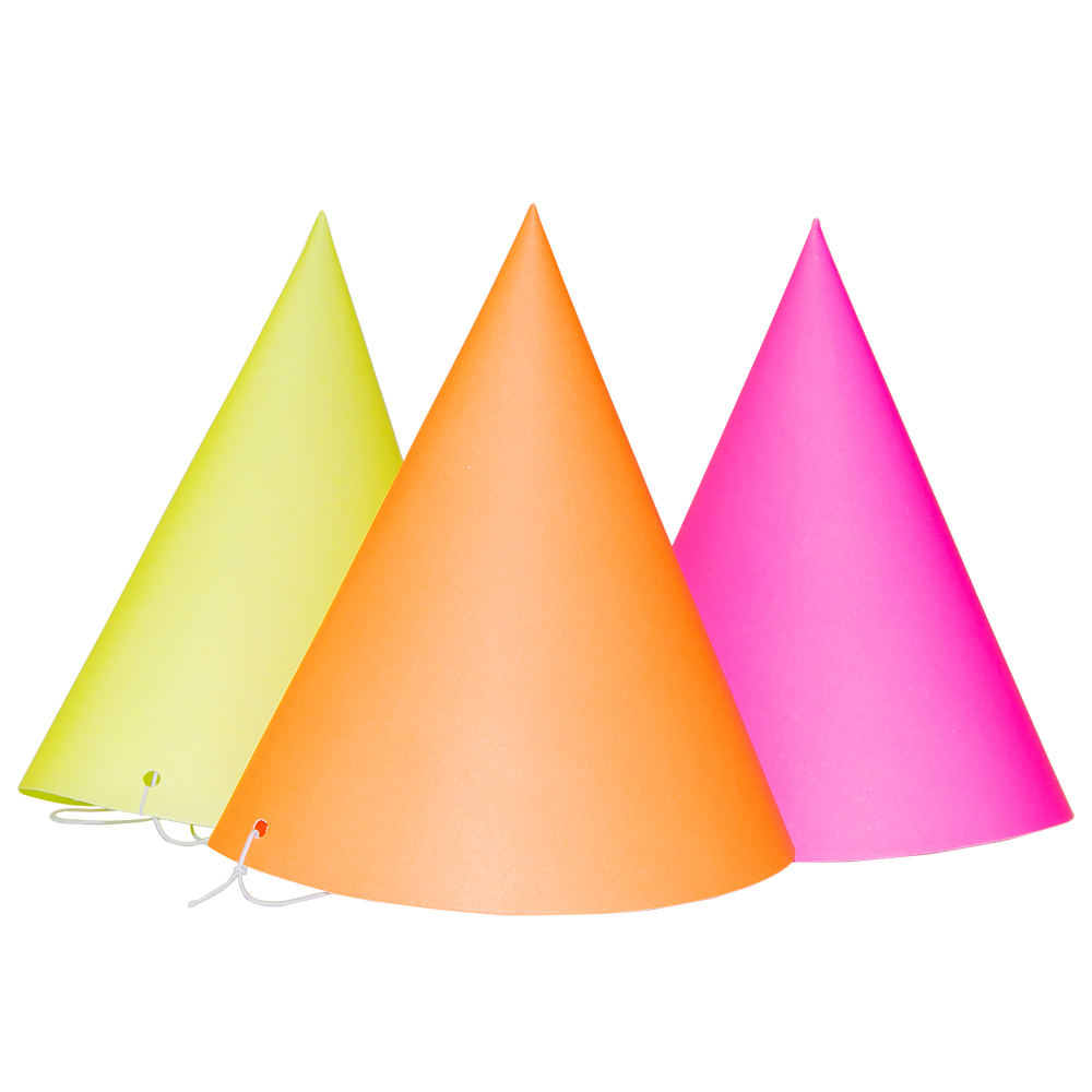 One orange, one yellow and one pink cone hat displayed