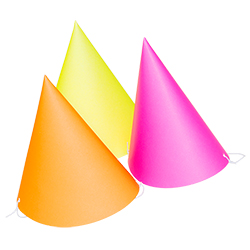 Three neon party hats displayed