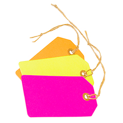 Three neon luggage tags in pink, yellow and orange