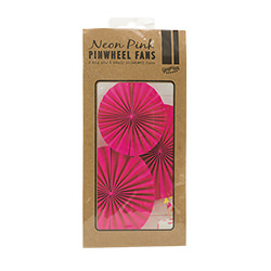 The neon pink pinwheel fans in their packaging