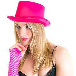 Model is wearing the beautiful Pink Satin Top Hat