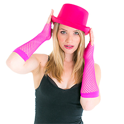 Model wearing Pink Satin Top Hat