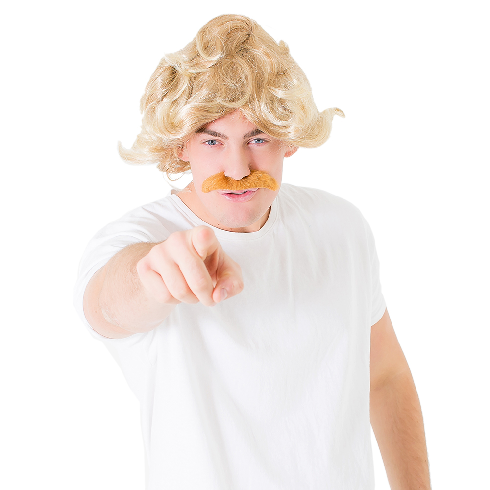 Blonde wig and ginger moustache