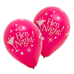 Hen night balloons with drinks and bubbles on them
