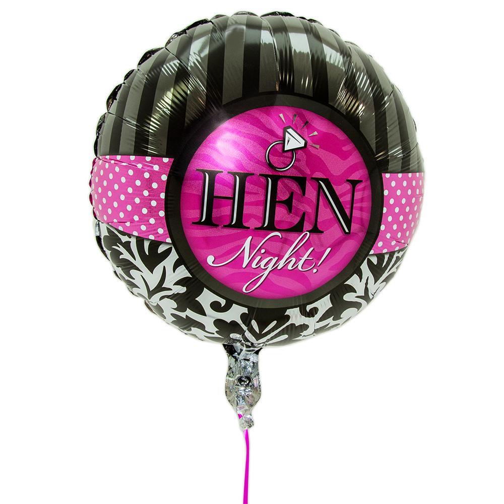 Pink and black round hen night balloon