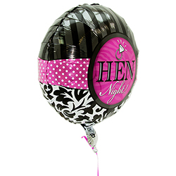 The side of the pink and black round hen night balloon