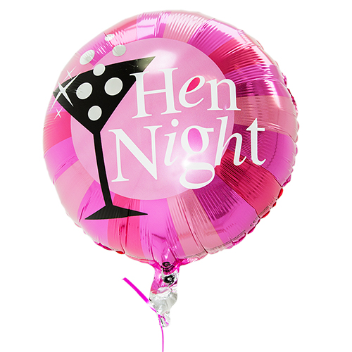 Round pink Hen Night balloon