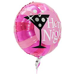 The side of the round pink Hen Night balloon