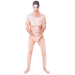 Male model wearing naked man morphsuit and covering his crotch area