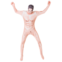 Model wearing naked man morphsuit with his arms in the air