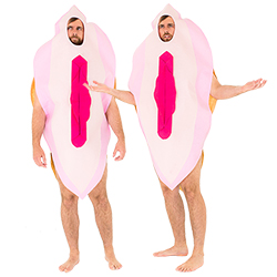 A very confused guy in a vagina costume