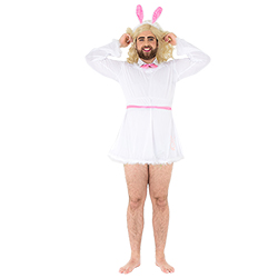 Stag do bunny costume, with model's hands on head