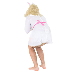 Bunny costume from behind as model bends over