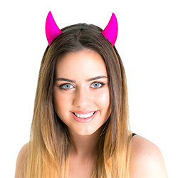 Close up of model wearing Pink Reflective Horns
