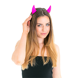 Model wearing Pink Reflective Horns
